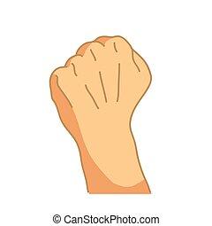 gesto, branca, caricatura, punho, mão