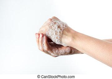 gesto, de, mulher, lavando, dela, mãos, fundo branco
