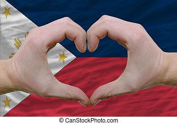 gesto, hecho, por, manos, actuación, símbolo, de, corazón,...