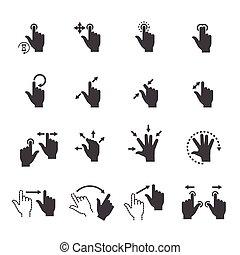 gesto, iconos, para, tacto, dispositivos