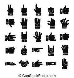 gesto, ikona, dát, jednoduchý, móda