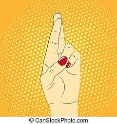 gesto mão, dedos cruzados, contra, a, fundo, de, estouro,...