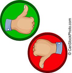 gesto mão, semelhante, unlike, com, polegar