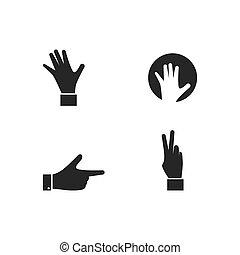 gesto, mano, icona, set