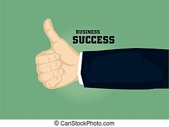 gesto, mano, pulgares, vector, ilustración, éxito, arriba, ...