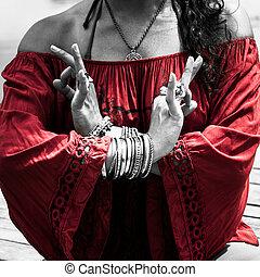 gesto, mudra, mulher, simbólico, ioga, mãos