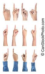 gesto, señalar, colección, mano