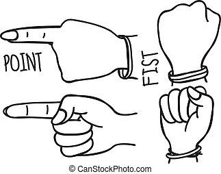 gestos, doodle, mão