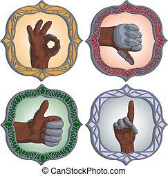 gestos, fantasía, conjunto, mano