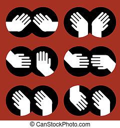 gestos, mãos, vário, human, ícones