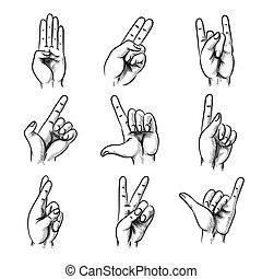 gestos, mano, estilo, conjunto, vendimia