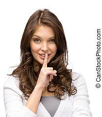 gestos, mujer, silencio