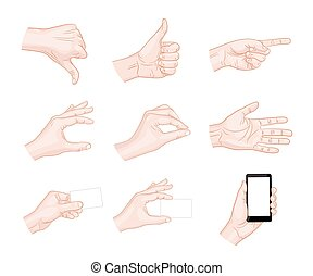 gestos, negócio, mão