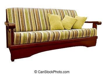 gestreepte , groene, en, bruine sofa, met, weefsel,...