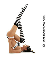 gestreift, unterstützt, unterwäsche, shoulderstand