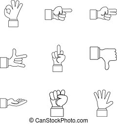 Gestural icons set, outline style - Gestural icons set....