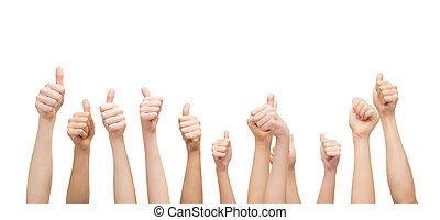 hands showing thumbs up - gesture and body parts concept -...