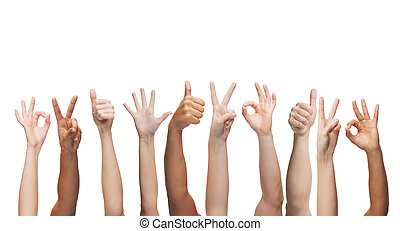 gesture and body parts concept - human hands showing thumbs up, ok and peace signs