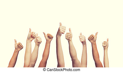 human hands showing thumbs up - gesture and body parts ...