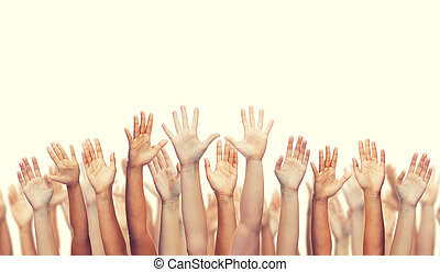 human hands waving hands - gesture and body parts concept -...