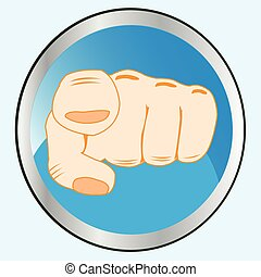 Gesture finger on button