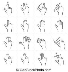Gesture icon set - Gesture icons for touch devices. Simple...