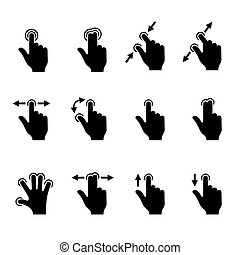 Gesture Icons Set for Mobile Touch Devices. Vector...