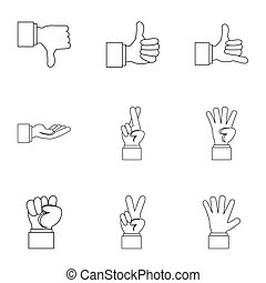 Gesture icons set, outline style - Gesture icons set....