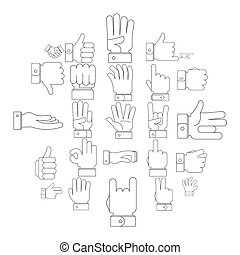 Gesture icons set, outline style