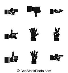 Gesture icons set, simple style - Gesture icons set. Simple...