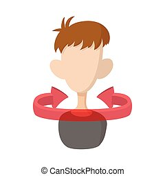 Gesture of rejection icon, cartoon style