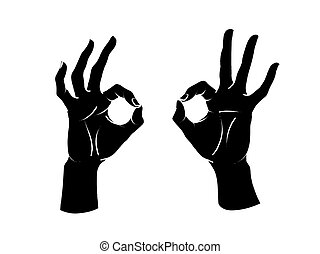 Gesture. Okey sign. Two female hands with index and thumb making circle, other fingers up. Vector.