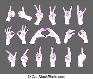 Gesture set. Female hands showing different signs. Vector illustration.