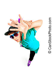 gesture - Stylish young man is dancing. Isolated over white...