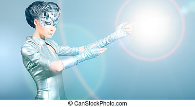 gesture - Shot of a futuristic young woman.