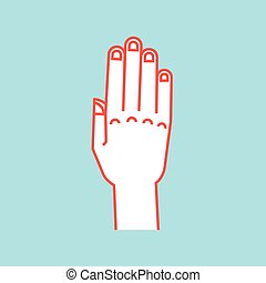 Gesture. Stop sign. Stylized hand with all fingers up and connected. Vector . Attention. Icon.