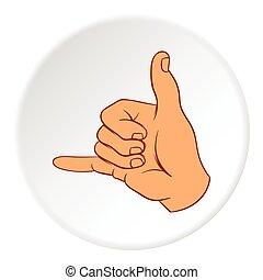 Gesture surfing icon, cartoon style - Gesture surfing icon...