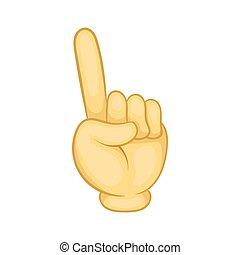 Gesture thumb up icon, cartoon style