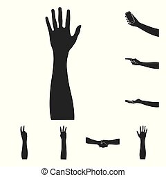 Gestures and their meaning black icons in set collection for design. Emotional part of communication vector symbol stock web illustration.