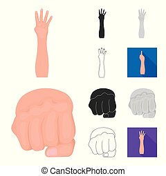 Gestures and their meaning cartoon, black, flat, monochrome, outline icons in set collection for design. Emotional part of communication vector symbol stock web illustration.