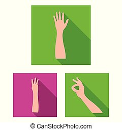 Gestures and their meaning flat icons in set collection for design. Emotional part of communication vector symbol stock web illustration.