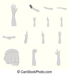 Gestures and their meaning monochrome icons in set collection for design. Emotional part of communication vector symbol stock web illustration.