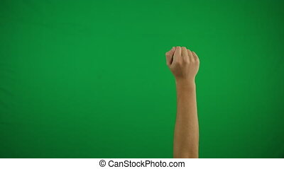 Gestures chroma key pack. 20 Gestures at green screen background. Man hand close up showing multitouch gestures for touch screen: click, zoom, vertical, horizontal slide, scrolling