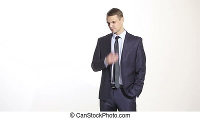 gestures distrust lies. body language. man in business suit...
