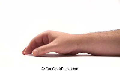 Male hand hammering the table. White background. Canon HV30. HD 16:9 1920 x 1080 @ 25.00 fps. Progressive scan. Photo JPG Compression. No audio.