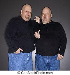 gesturing., gemelo, hombres