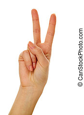 Gesturing - Image of female hand showing two fingers on a ...