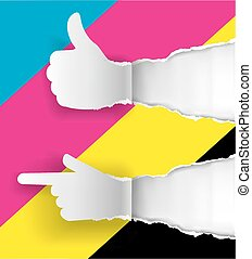 Gesturing paper hands, ripped paper with print colors.
