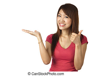 Gesturing - Close-up of a young Asian woman gesturing