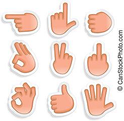 gestuser, 2, sæt, hånd, ikon
